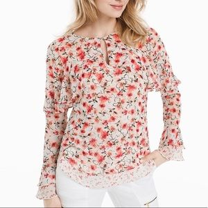 WHBM Pink Calico Floral Ruffle Long Sleeve Blouse